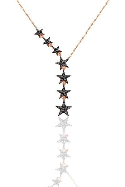 Kadın 925 Ayar Gümüş Kuyruklu Yıldız Onix Taşlı Kolye SGTL3512