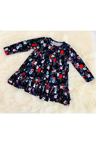 Kız Çocuk Kadife Çiçek Baskılı Elbise