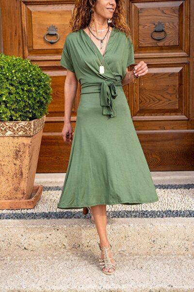 Kadın Haki Kruvaze Kiloş Elbise GK-LD302
