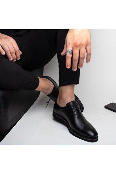 Eva Alvın Erkek Siyah Mat Hakiki Deri Klasik Rahat Ayakkabı