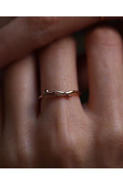 Kadın Nisan Düğümü Pembe Altın Yüzük T1361.