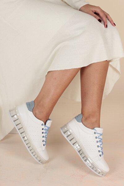 Beyaz Mavi Kadın Yürüyüş Ayakkabısı Y1155
