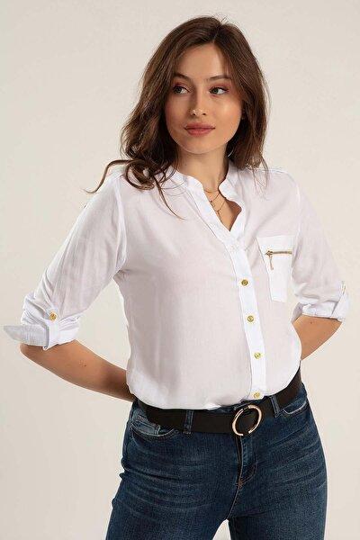 Kadın Cep Detaylı Viskon Gömlek Y20s110-3623