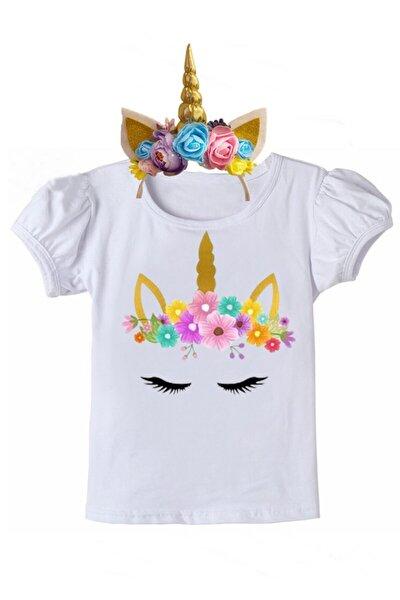 Kız Çoçuk Unicorn Tişort Ve Taç Doğum Günü