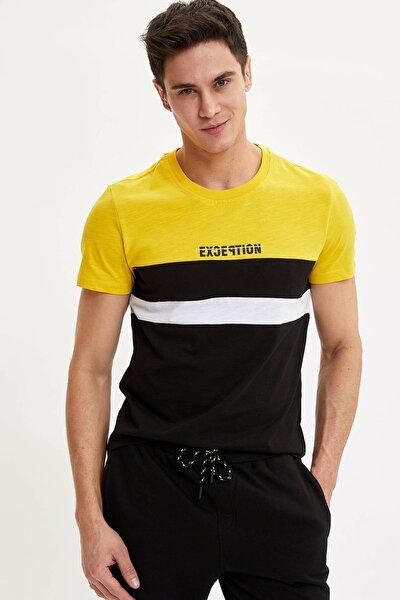 Erkek Sarı Baskılı Slim Fit T-Shirt M4803AZ.20SP.YL120