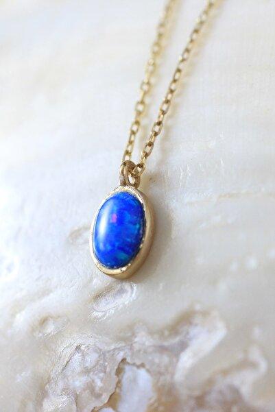 925 Ayar Gümüş Üzeri Altın Kaplama Mavi Opal Taşlı Kolye