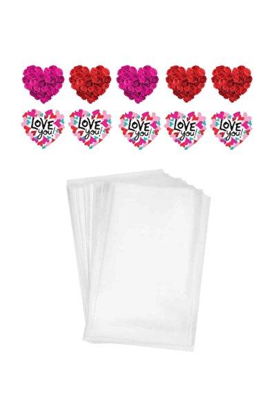 Sevgililer Günü 13x20cm Kurabiye Poşet Ve Kalp Sticker Set 150 Parça Model 1