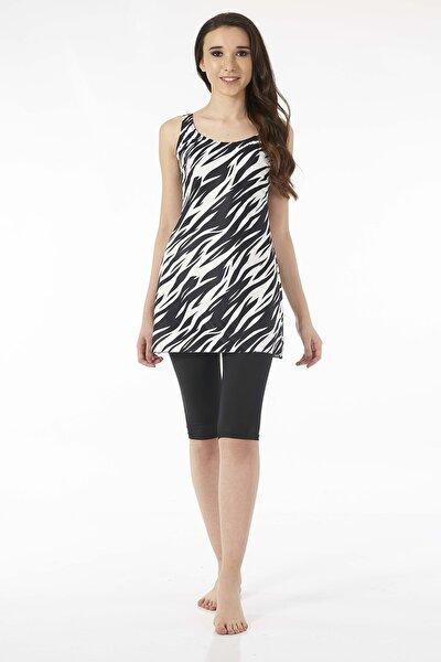 Zebra Siyah Askılı Taytlı Elbise Mayo