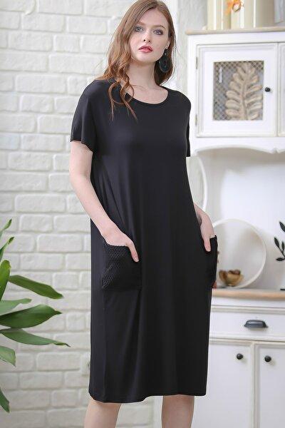 Kadın Siyah Retro File Cep Detaylı Kısa Kollu Salaş Elbise M10160000EL97336