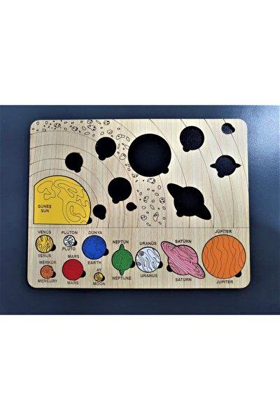 Renkli Ahşap Güneş Sistemi Bul Tak Puzzle Montessorie