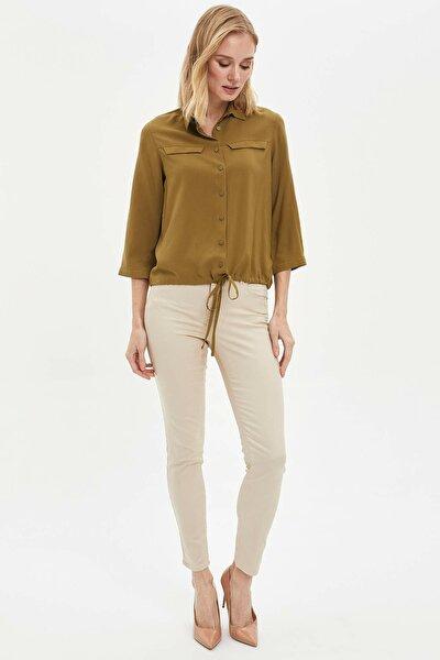 Kadın Bej Slim Fit Pantolon M0850AZ.20SP.BG115