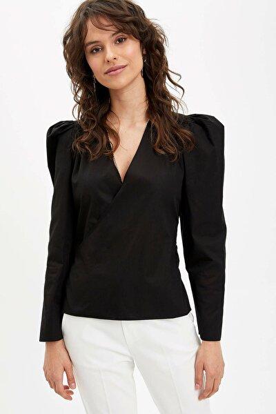 Kadın Siyah Bağlama Detaylı Uzun Kollu Bluz R0636AZ.20SP.BK27