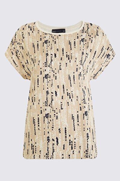 Kadın Bej Kısa Kollu T-Shirt T41007008X