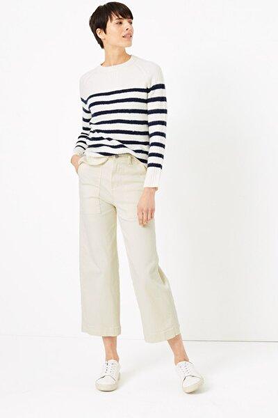 Kadın Bej Wide Leg Cropped Jean Pantolon T57006334