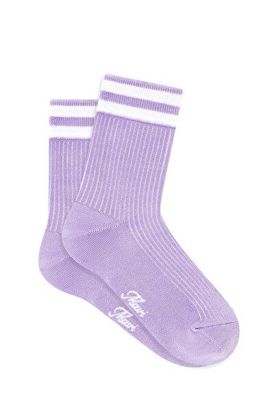 Bileği Çizgili Lila Soket Çorap 197389-30758