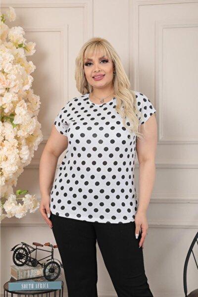Kadın Büyük Beden Bisiklet Yaka Beyaz Siyah Büyük Puantiyeli Kısa Kol T.shirt