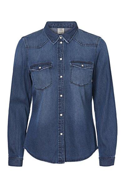 Kadın Mavi Denim Gömlek 10209106 VMMARIA