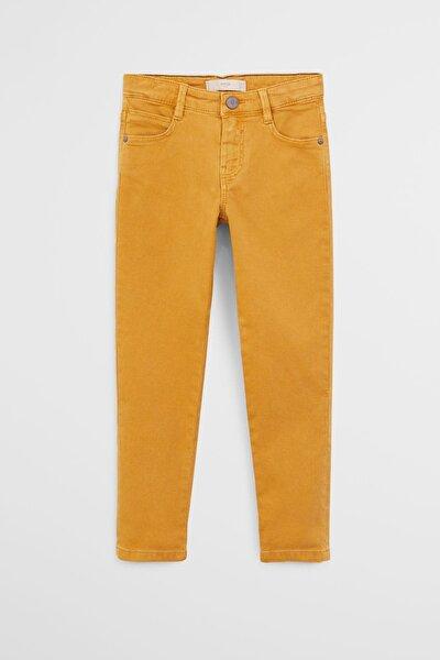 Erkek Çocuk Hardal Sarısı Dar Kesim Koton Pantolon