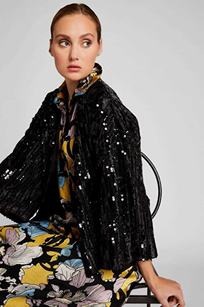 Kadın Siyah Truvakar Kol Pul Payetli Ceket