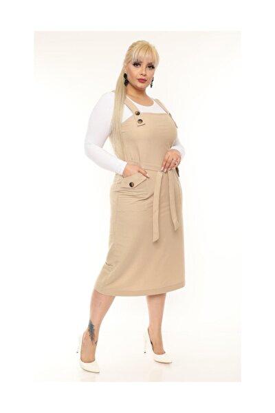 Kadın Krem Jile Salopet Elbise