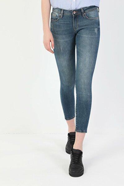 757 Sally Süper Dar Kesim Süper Düşük Bel Süper Dar Paça Kadın Mavi Jean Pantolon CL1048686