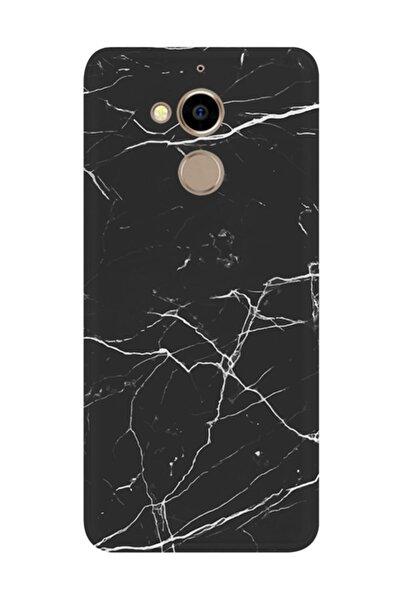General Mobile Gm8 Kılıf Silikon Desenli Resimli Lüx Kapak Siyah Koyu Mermer