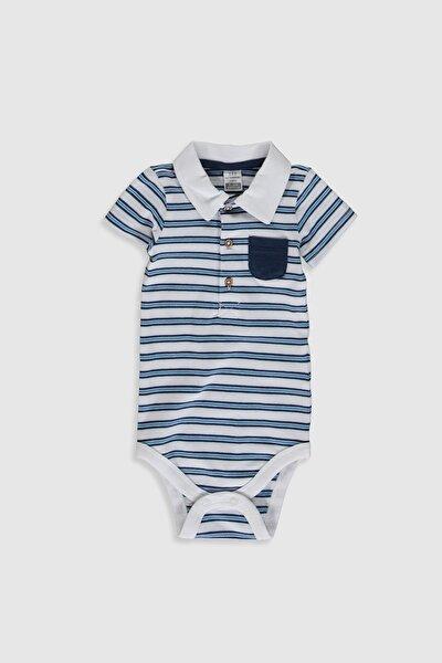 Erkek Bebek Beyaz Çizgili Ljx Bebek Body & Zıbın