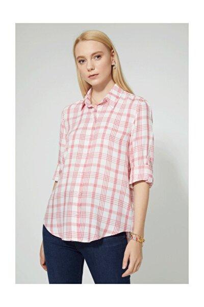 Kadın Gömlek Pembe Kareli