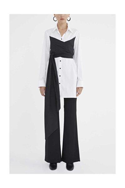 Kontrast Renk Bağlamalı Bol Kesim Gömlek Beyaz 10734