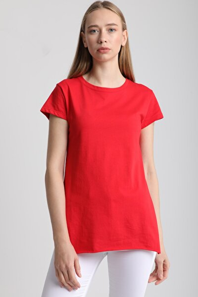 Kadın Kırmızı Bisiklet Yaka Yırtmaçlı Pamuklu T-Shirt Mdt3104