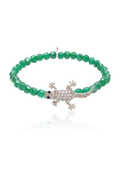 Yeşil Gümüş Timsah Bileklik