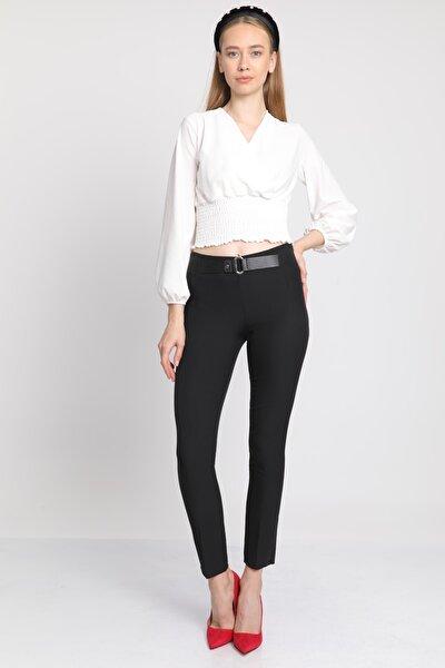 Kadın Siyah Cepli  Kemerli Kumaş Pantolon Mdt3616