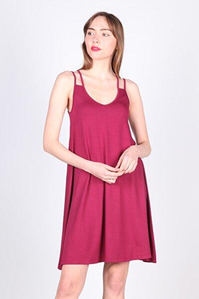 Kadın Vişne Rengi Plaj Elbisesi