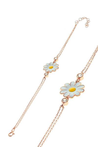 Kadın Rose Renk Gümüş Mineli Papatya Bileklik SGTL8640
