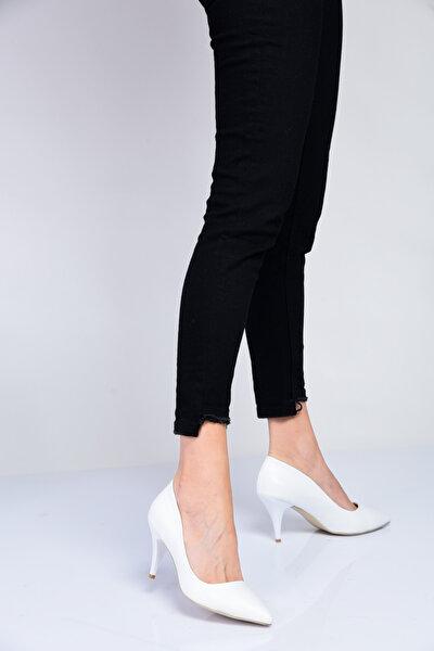 Beyaz Kadın Topuklu Ayakkabı 18Y 11905