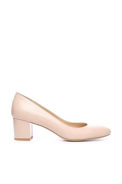 Hakiki Deri Bej Kadın Kalın Topuklu Ayakkabı 613 21792 BYN AYK