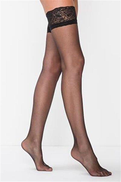 Siyah Premier 20 Silikon Jartiyer Çorabı
