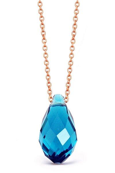 Kadın Mavi Kristal Kuvarslı Gümüş Kolye N122001