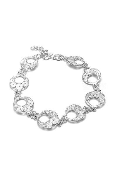 Kadın Beyaz Ay Motifli Telkari Gümüş Bileklik 2020404