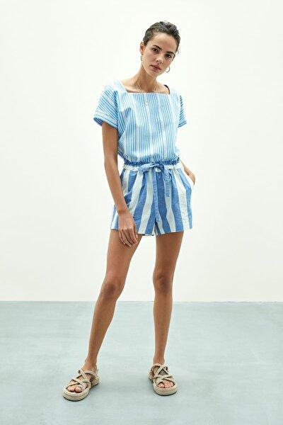 Kadın Mavi Marin Temali Çizgili Bluz 342423
