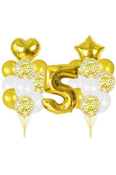 5 Yaşında Altın Balon Konfetili Kalp Ve Yıldız Folyolu Set
