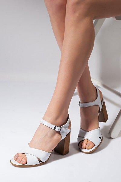 Hakiki Deri Beyaz Kadın Topuklu Ayakkabı 7CMOKCELİ002