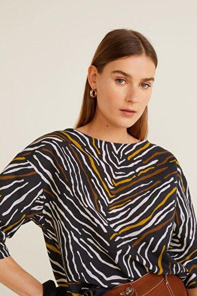 Kadın Siyah Zebra Desenli Bluz 43015832