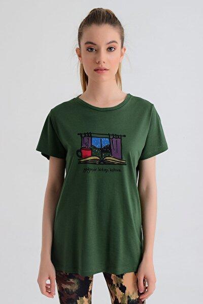 Kadın T-shirt - Wormie Yağmur-Kitap-Kahve - WRMYYKH