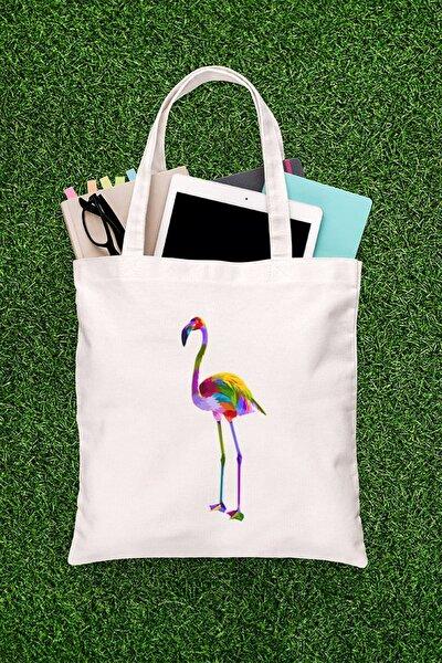 Renkli Tüylü Flamingo Resimli Alışveriş Plaj Bez Çanta 3007881