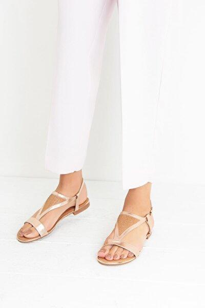 Pembe Altın Rengi Kadın Sandalet