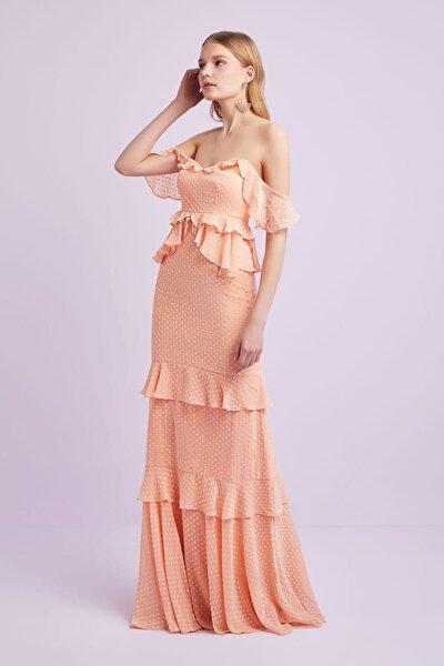 Kadın Açık Turuncu Şifon Askılı Uzun Abiye Elbise 4XLVC3871