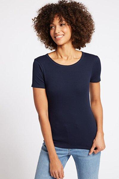 Kadın Lacivert Saf Pamuklu Kısa Kollu Yuvarlak Yaka T-Shirt T41001369