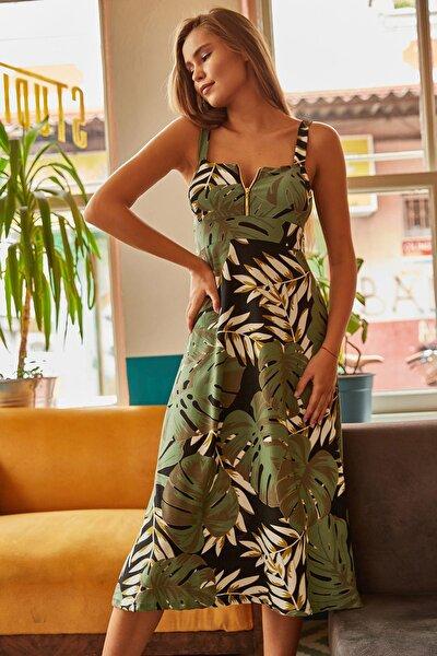 Kadın Yeşil Fermuarlı Büyük Palmiye Desenli Elbise ELB-19000615