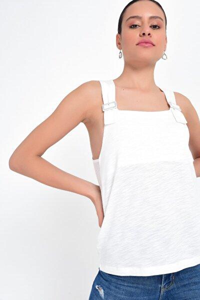 Kadın Beyaz Kalın Askılı İp Askılı Toka Detaylı Atlet HN2024